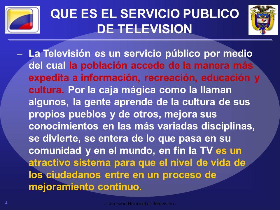 4 - Comisión Nacional de Televisión - QUE ES EL SERVICIO PUBLICO DE TELEVISION –La Televisión es un servicio público por medio del cual la población a