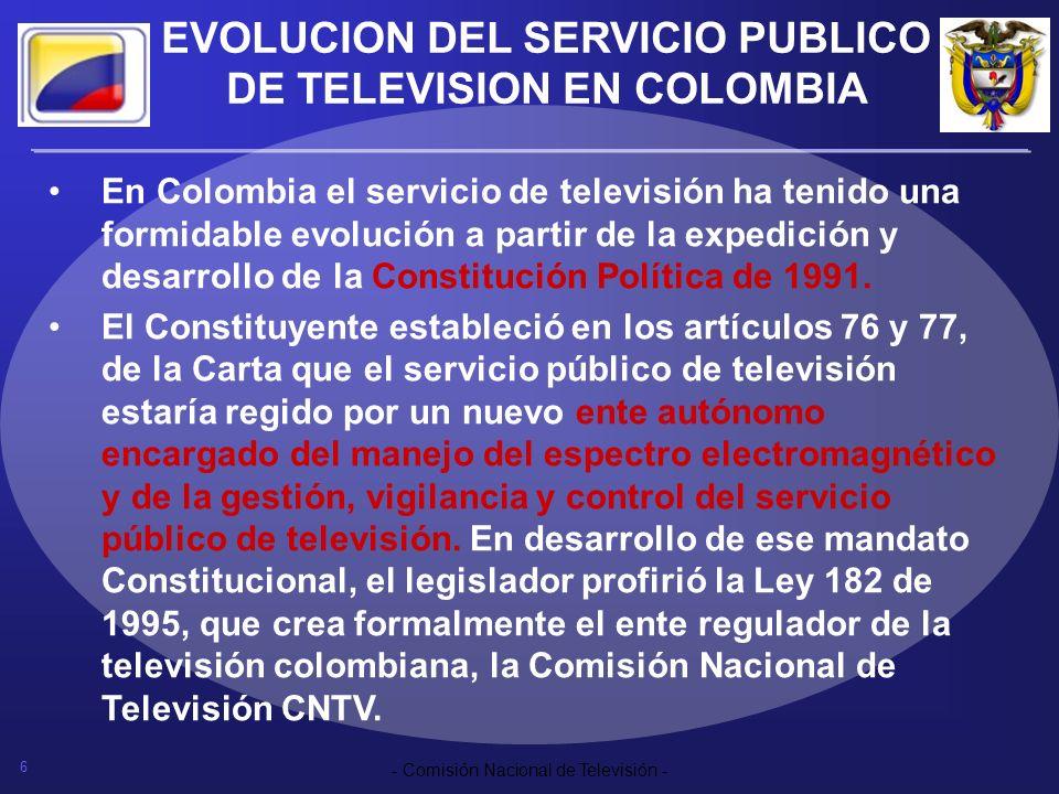 6 - Comisión Nacional de Televisión - EVOLUCION DEL SERVICIO PUBLICO DE TELEVISION EN COLOMBIA En Colombia el servicio de televisión ha tenido una for