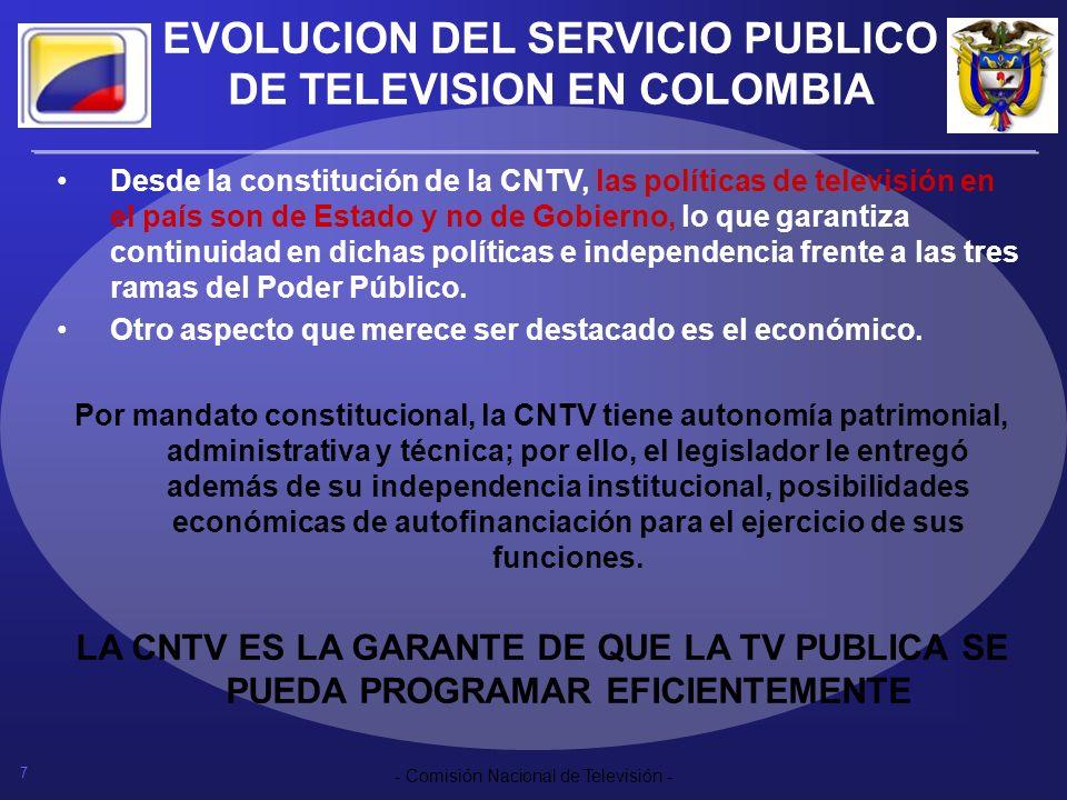 7 - Comisión Nacional de Televisión - EVOLUCION DEL SERVICIO PUBLICO DE TELEVISION EN COLOMBIA Desde la constitución de la CNTV, las políticas de tele