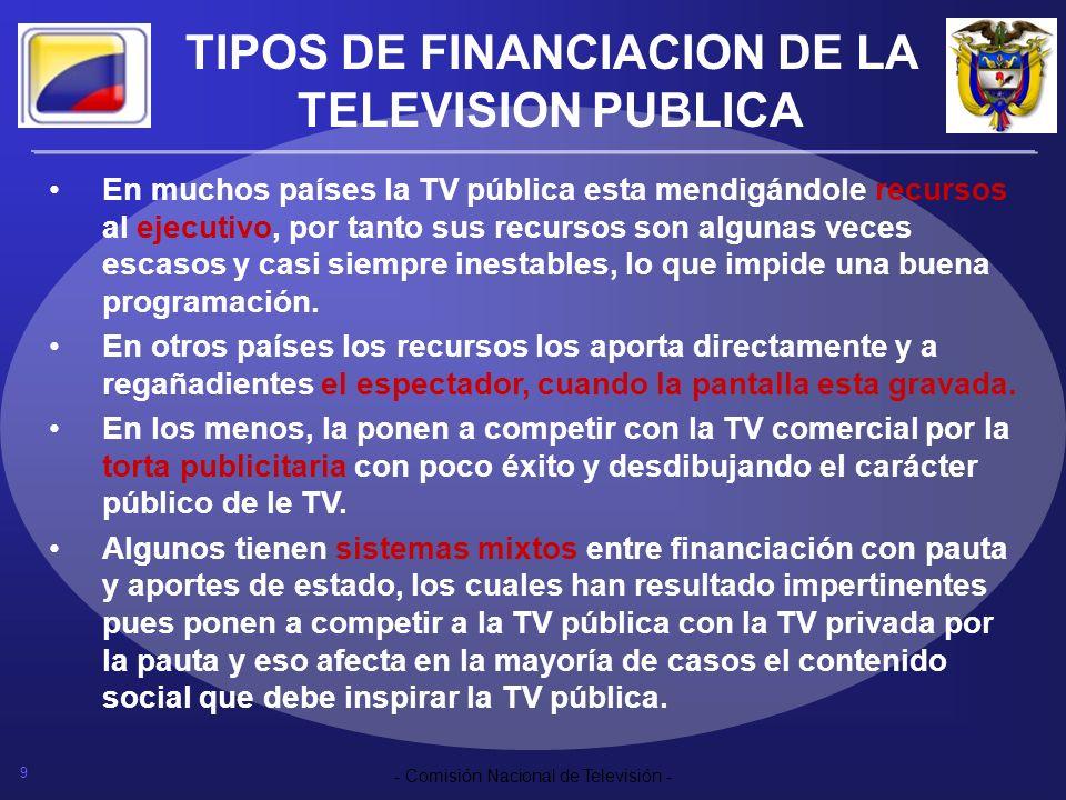 9 - Comisión Nacional de Televisión - TIPOS DE FINANCIACION DE LA TELEVISION PUBLICA En muchos países la TV pública esta mendigándole recursos al ejec