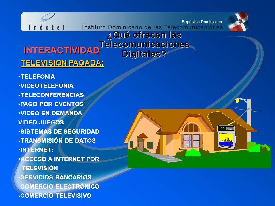 99 INTERACTIVIDAD TELEFONIA VIDEOTELEFONIA -TELECONFERENCIAS -PAGO POR EVENTOS VIDEO EN DEMANDA VIDEO JUEGOS SISTEMAS DE SEGURIDAD -TRANSMISIÓN DE DATOS INTERNET; ACCESO A INTERNET POR TELEVISIÓN -SERVICIOS BANCARIOS -COMERCIO ELECTRÓNICO -COMERCIO TELEVISIVO ¿Qué ofrecen las Telecomunicaciones Digitales.