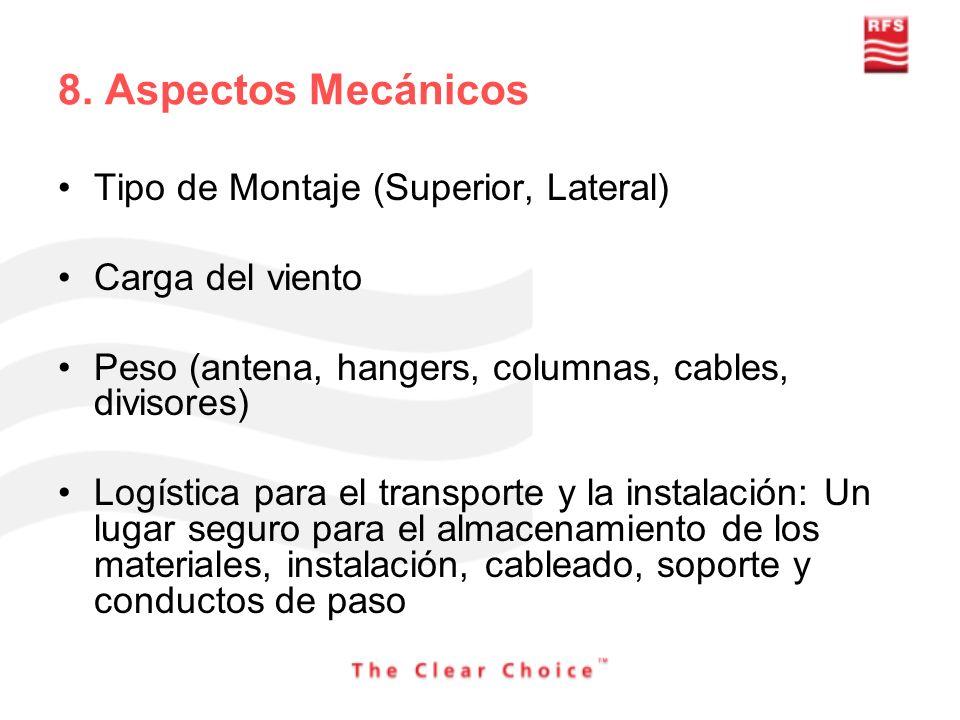 8. Aspectos Mecánicos Tipo de Montaje (Superior, Lateral) Carga del viento Peso (antena, hangers, columnas, cables, divisores) Logística para el trans