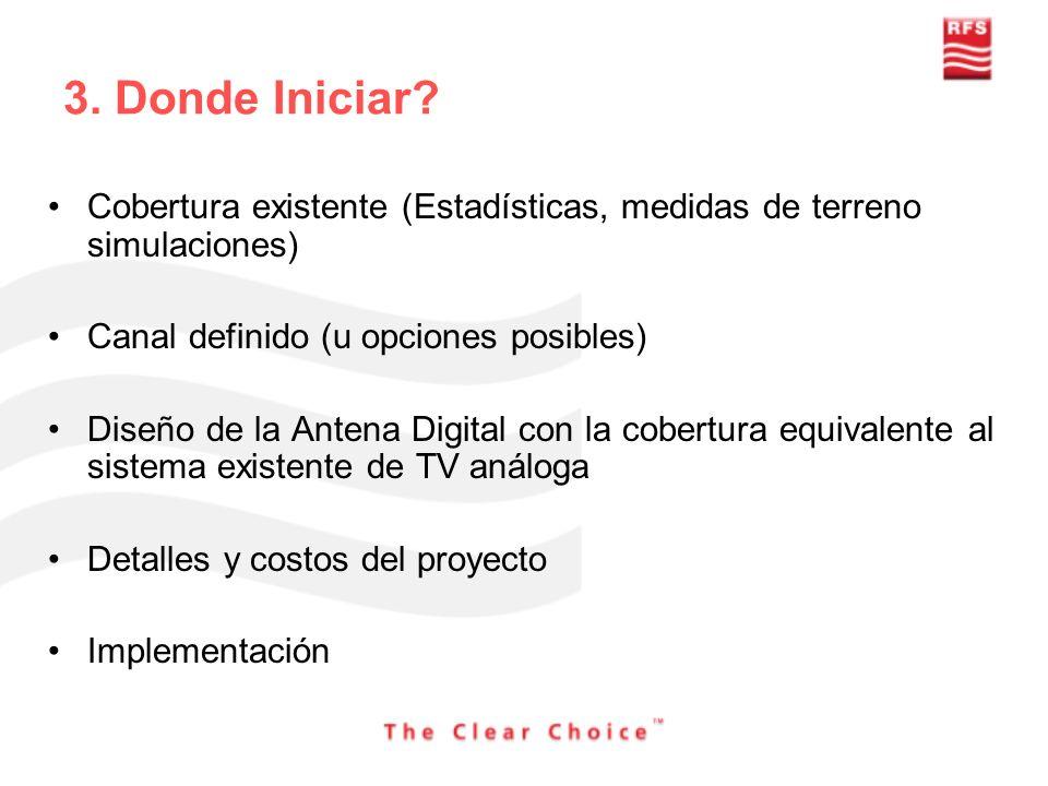 3. Donde Iniciar? Cobertura existente (Estadísticas, medidas de terreno simulaciones) Canal definido (u opciones posibles) Diseño de la Antena Digital