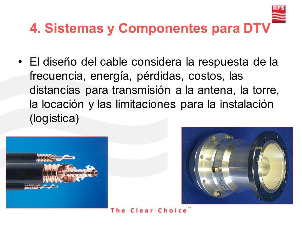 4. Sistemas y Componentes para DTV El diseño del cable considera la respuesta de la frecuencia, energía, pérdidas, costos, las distancias para transmi