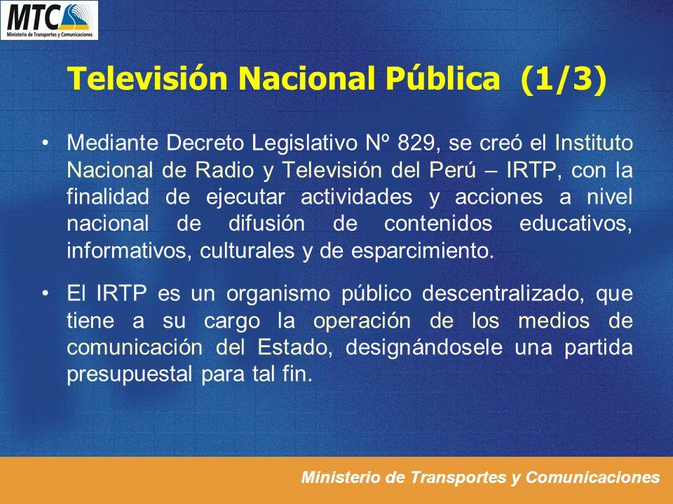 Ministerio de Transportes y Comunicaciones Televisión Nacional Pública (1/3) Mediante Decreto Legislativo Nº 829, se creó el Instituto Nacional de Rad
