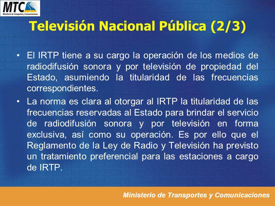Ministerio de Transportes y Comunicaciones Televisión Nacional Pública (2/3) El IRTP tiene a su cargo la operación de los medios de radiodifusión sono