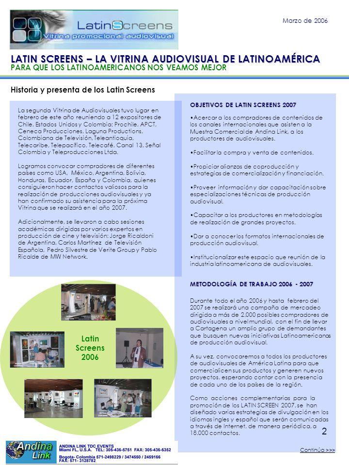2 Historia y presenta de los Latin Screens Marzo de 2006 OBJETIVOS DE LATIN SCREENS 2007 Acercar a los compradores de contenidos de los canales intern