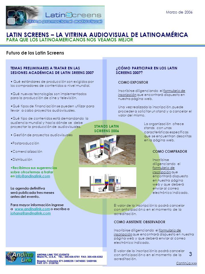 3 Futuro de los Latin Screens Marzo de 2006 TEMAS PRELIMINARES A TRATAR EN LAS SESIONES ACADÉMICAS DE LATIN SREENS 2007 Qué estándares de producción s