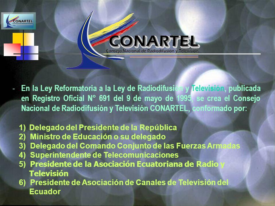 MARCO LEGAL DE LA TELEVISION 1.1Ley de Radiodifusión y Televisión (1975), Ley Reformatoria (1995) - CONARTEL concesiona frecuencias - Superintendencia de Telecomunicaciones realiza el control del espectro radioeléctrico - Concesión de un solo Sistema de TV por persona natural o jurídica en la República 1.2Reglamento General a la Ley de Radiodifusión y Televisión (1996) 1.3Reglamento de Tasas y Tarifas por concesiones y Autorizaciones para los servicios Radioeléctricos ( CONARTEL-05-A-96; 14 de marzo 1996) 1.4Actualización de Tarifas, Resolución No 0039-CONARTEL-97; 24 julio 1997; RO 205 ; 1 de diciembre 1997