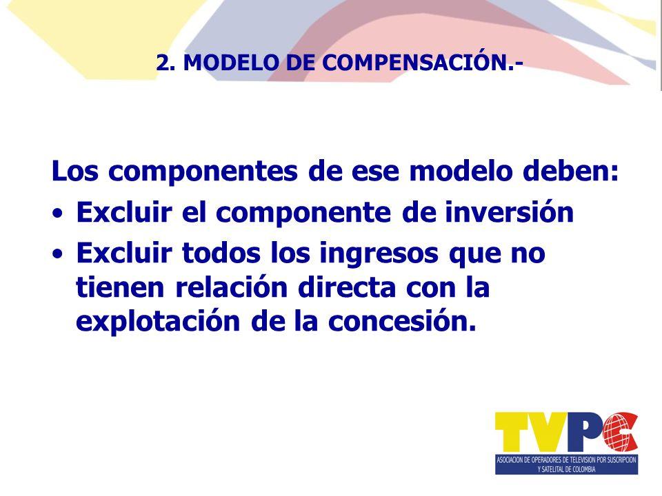 Los componentes de ese modelo deben: Excluir el componente de inversión Excluir todos los ingresos que no tienen relación directa con la explotación de la concesión.