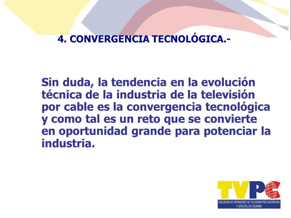 Sin duda, la tendencia en la evolución técnica de la industria de la televisión por cable es la convergencia tecnológica y como tal es un reto que se convierte en oportunidad grande para potenciar la industria.