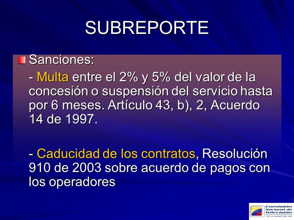 Sanciones: - Multa entre el 2% y 5% del valor de la concesión o suspensión del servicio hasta por 6 meses. Artículo 43, b), 2, Acuerdo 14 de 1997. - C