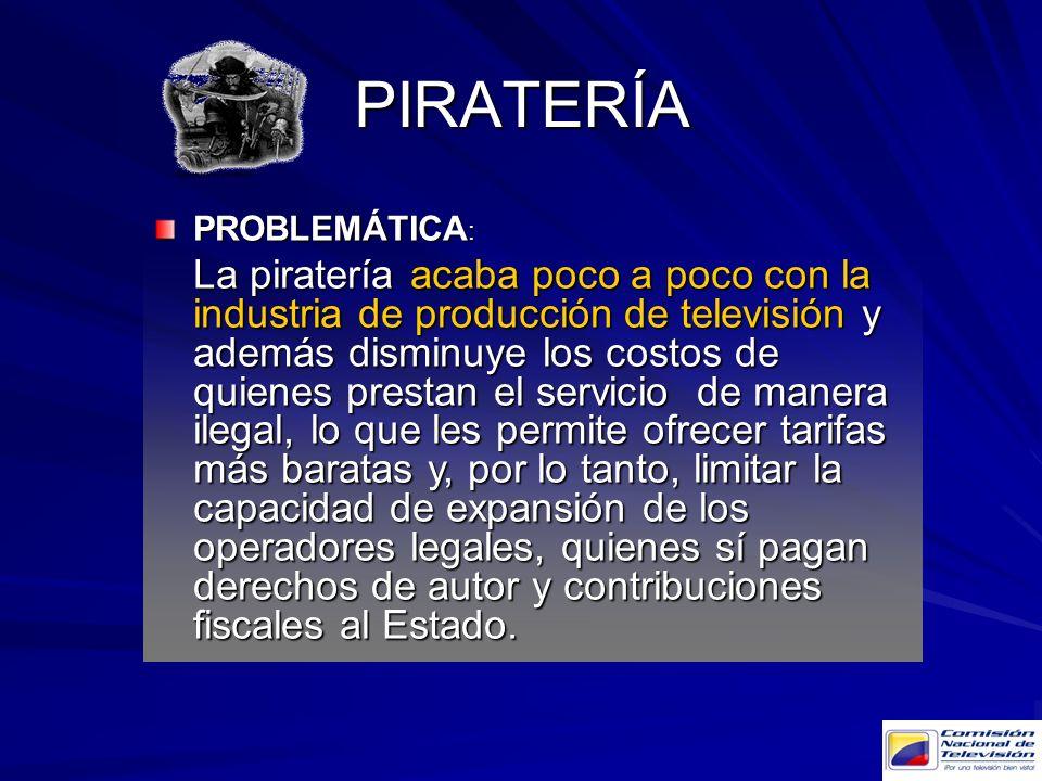 PIRATERÍA PROBLEMÁTICA : La piratería acaba poco a poco con la industria de producción de televisión y además disminuye los costos de quienes prestan