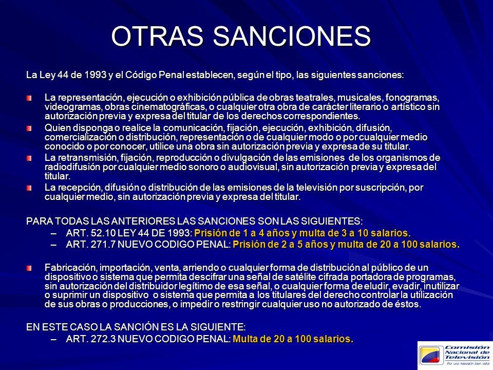 La Ley 44 de 1993 y el Código Penal establecen, según el tipo, las siguientes sanciones: La representación, ejecución o exhibición pública de obras te