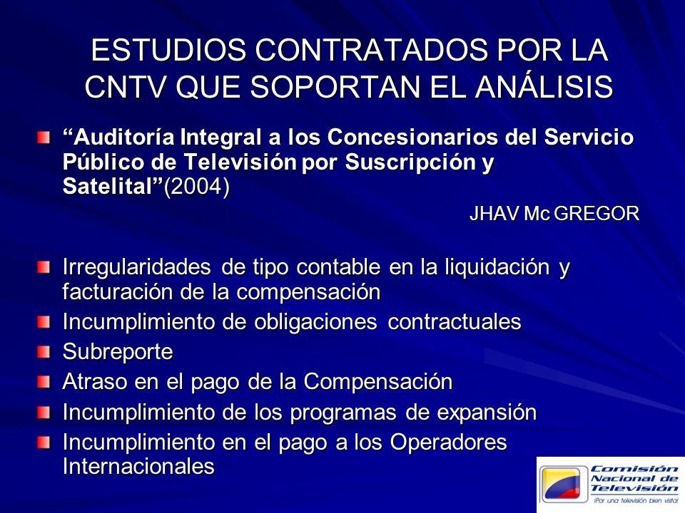 Auditoría Integral a los Concesionarios del Servicio Público de Televisión por Suscripción y Satelital(2004) JHAV Mc GREGOR Irregularidades de tipo co