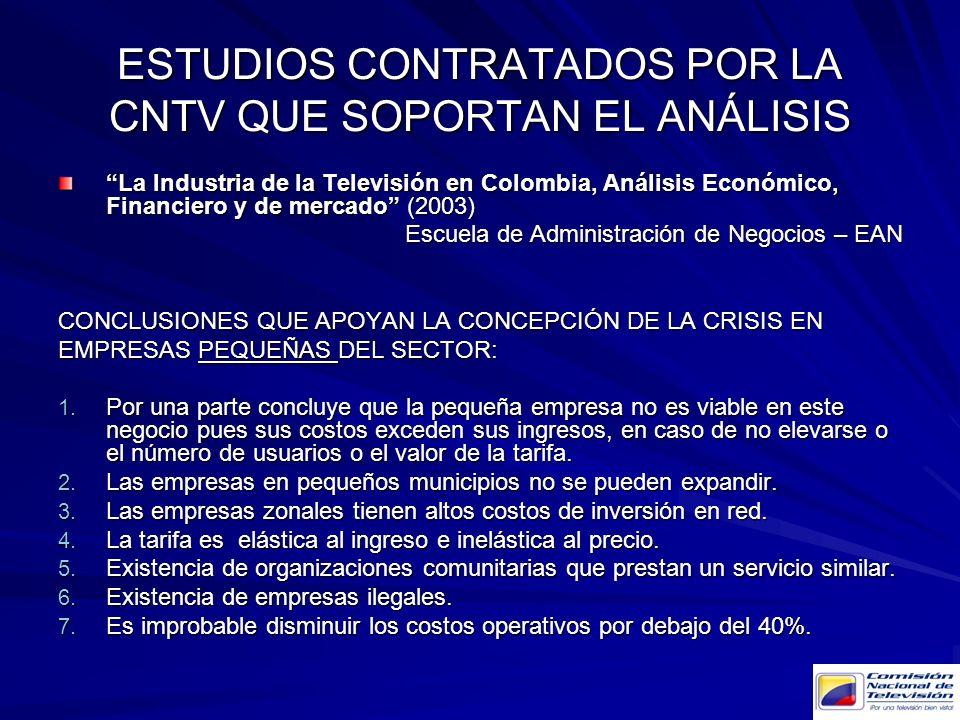 La Industria de la Televisión en Colombia, Análisis Económico, Financiero y de mercado (2003) Escuela de Administración de Negocios – EAN CONCLUSIONES