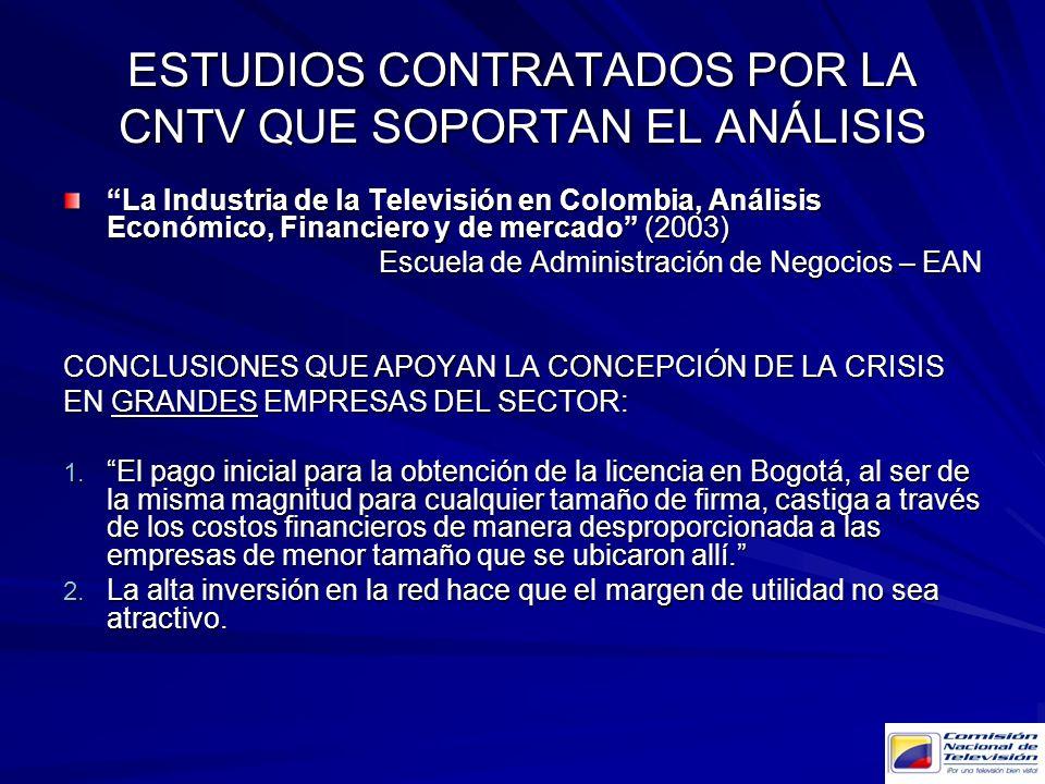 ESTUDIOS CONTRATADOS POR LA CNTV QUE SOPORTAN EL ANÁLISIS La Industria de la Televisión en Colombia, Análisis Económico, Financiero y de mercado (2003