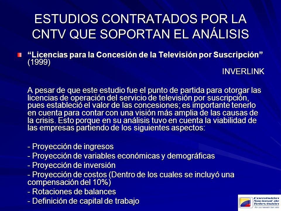 ESTUDIOS CONTRATADOS POR LA CNTV QUE SOPORTAN EL ANÁLISIS Licencias para la Concesión de la Televisión por Suscripción (1999) INVERLINK A pesar de que