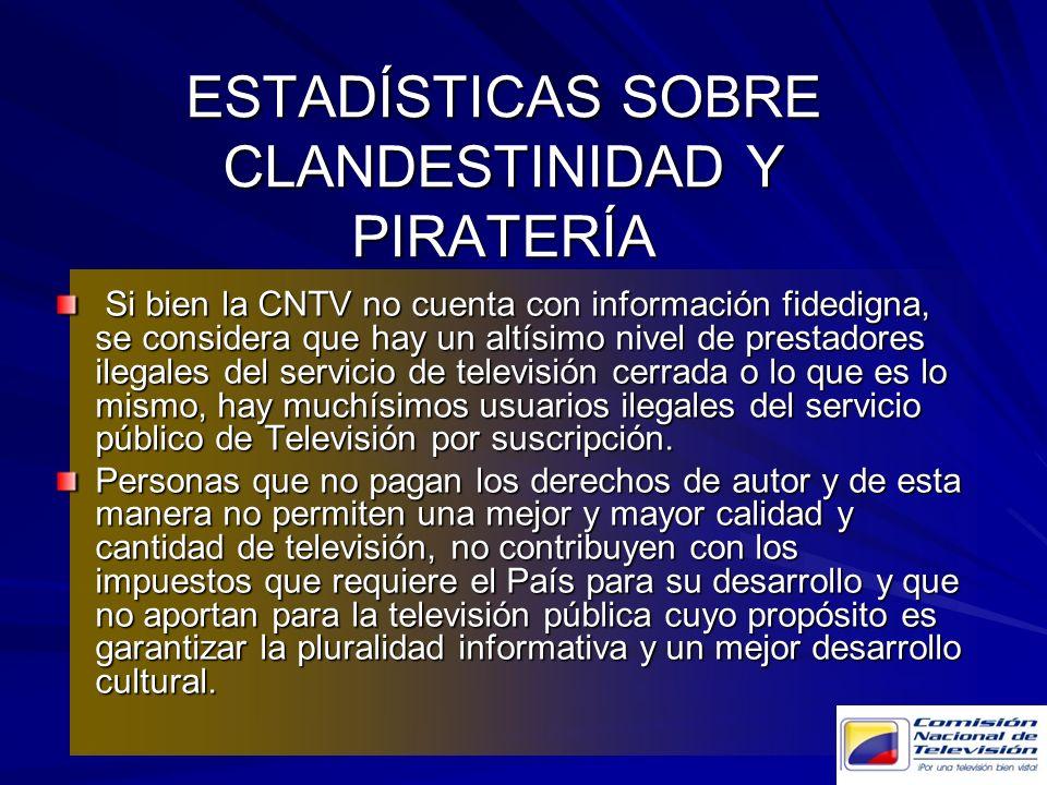 ESTADÍSTICAS SOBRE CLANDESTINIDAD Y PIRATERÍA Si bien la CNTV no cuenta con información fidedigna, se considera que hay un altísimo nivel de prestador
