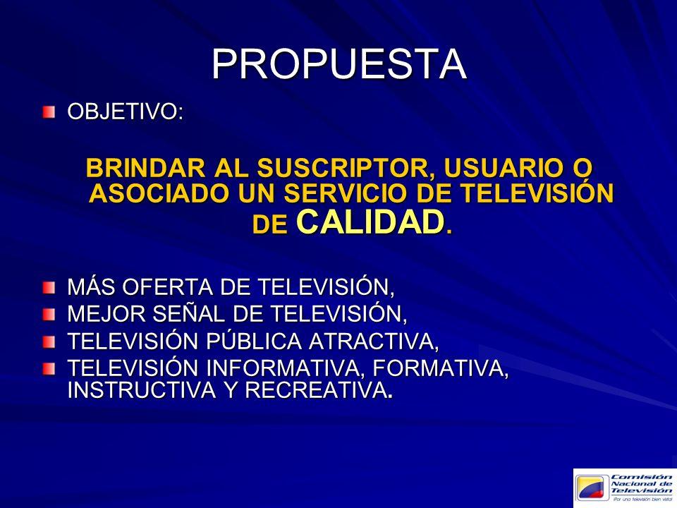 PROPUESTA OBJETIVO: BRINDAR AL SUSCRIPTOR, USUARIO O ASOCIADO UN SERVICIO DE TELEVISIÓN DE CALIDAD. MÁS OFERTA DE TELEVISIÓN, MEJOR SEÑAL DE TELEVISIÓ