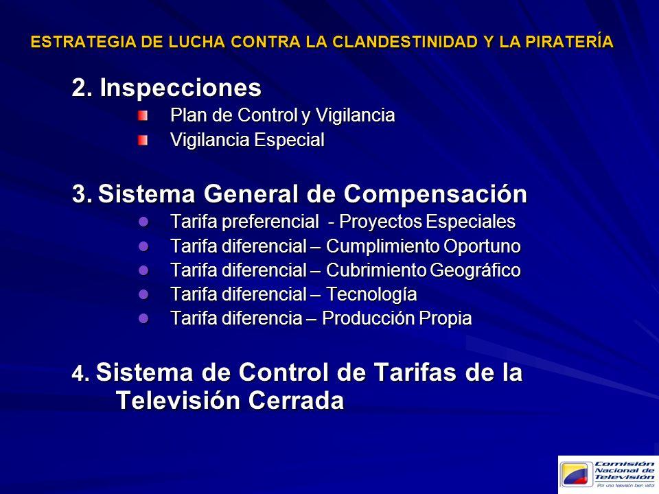 2. Inspecciones Plan de Control y Vigilancia Vigilancia Especial 3. Sistema General de Compensación Tarifa preferencial - Proyectos Especiales Tarifa