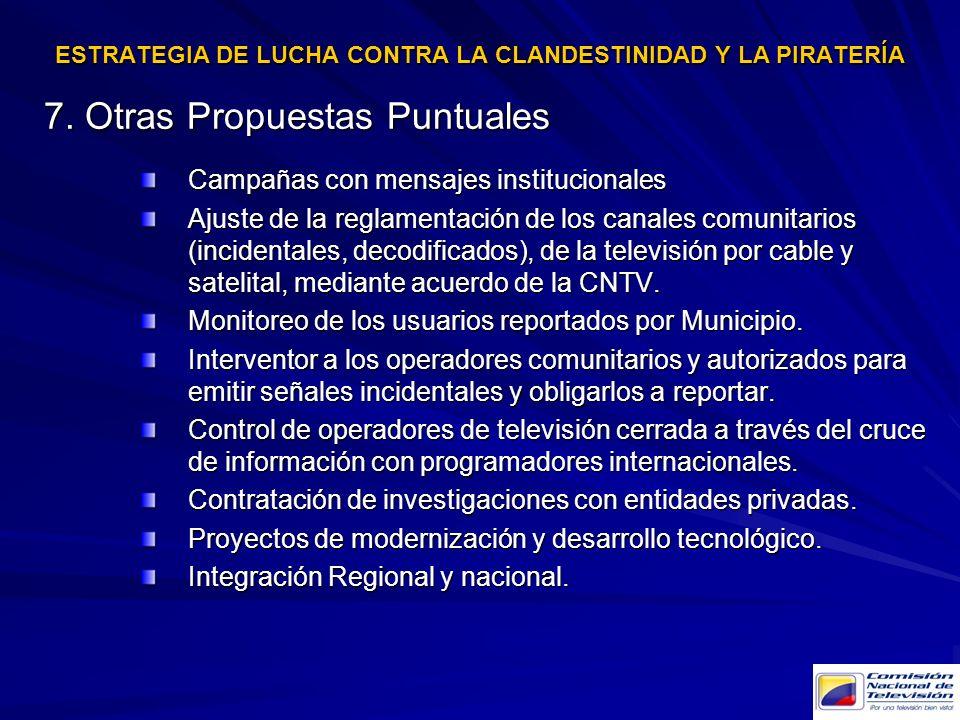 7. Otras Propuestas Puntuales Campañas con mensajes institucionales Ajuste de la reglamentación de los canales comunitarios (incidentales, decodificad