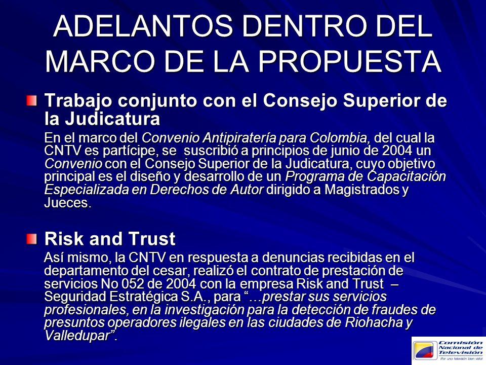 Trabajo conjunto con el Consejo Superior de la Judicatura En el marco del Convenio Antipiratería para Colombia, del cual la CNTV es partícipe, se susc