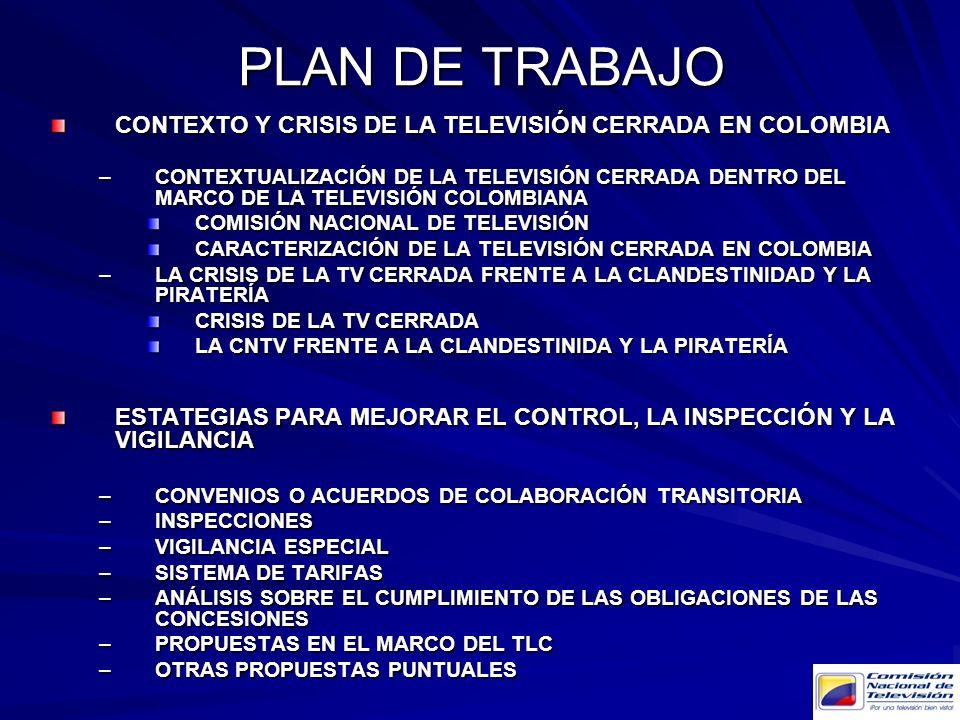 PLAN DE TRABAJO CONTEXTO Y CRISIS DE LA TELEVISIÓN CERRADA EN COLOMBIA –CONTEXTUALIZACIÓN DE LA TELEVISIÓN CERRADA DENTRO DEL MARCO DE LA TELEVISIÓN C
