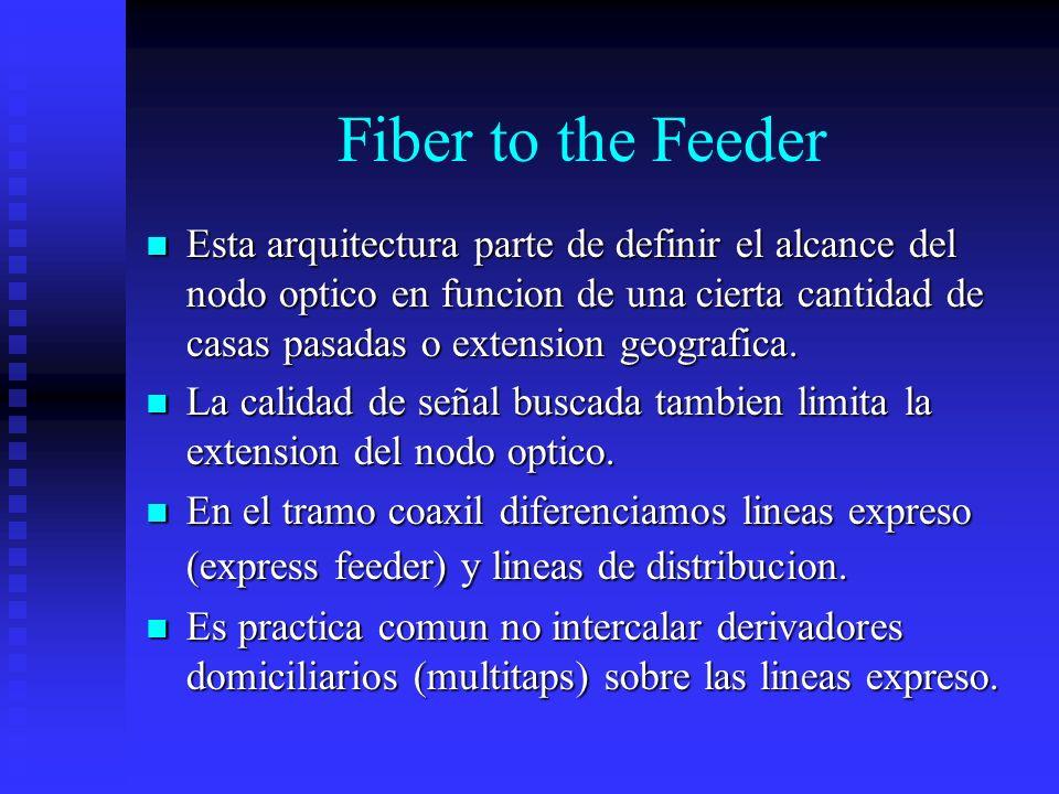 Fiber to the Feeder Esta arquitectura parte de definir el alcance del nodo optico en funcion de una cierta cantidad de casas pasadas o extension geogr