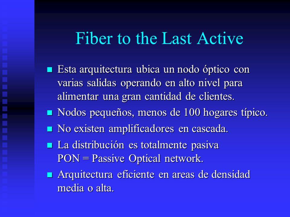 Fiber to the Last Active Esta arquitectura ubica un nodo óptico con varias salidas operando en alto nivel para alimentar una gran cantidad de clientes