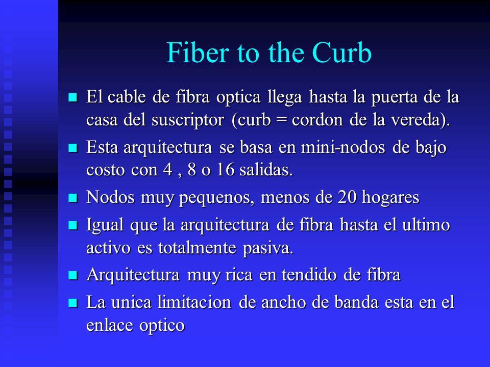 Fiber to the Curb El cable de fibra optica llega hasta la puerta de la casa del suscriptor (curb = cordon de la vereda). El cable de fibra optica lleg