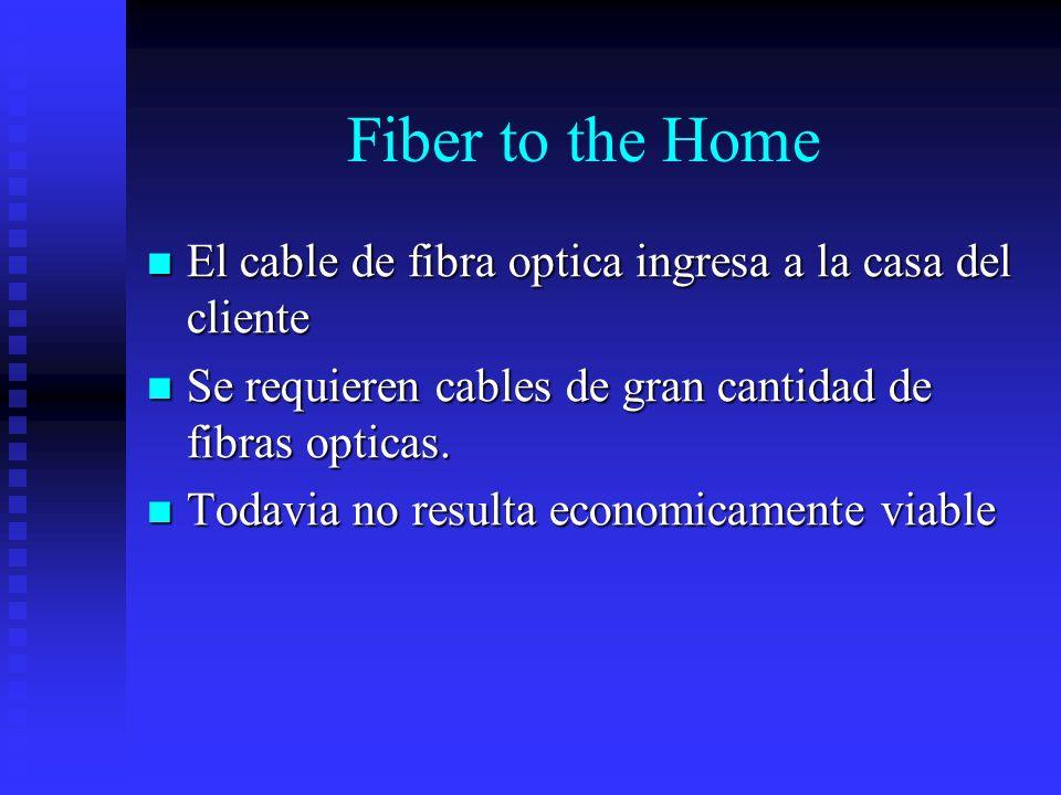 Fiber to the Home El cable de fibra optica ingresa a la casa del cliente El cable de fibra optica ingresa a la casa del cliente Se requieren cables de