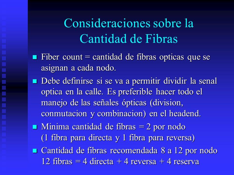Consideraciones sobre la Cantidad de Fibras Fiber count = cantidad de fibras opticas que se asignan a cada nodo. Fiber count = cantidad de fibras opti