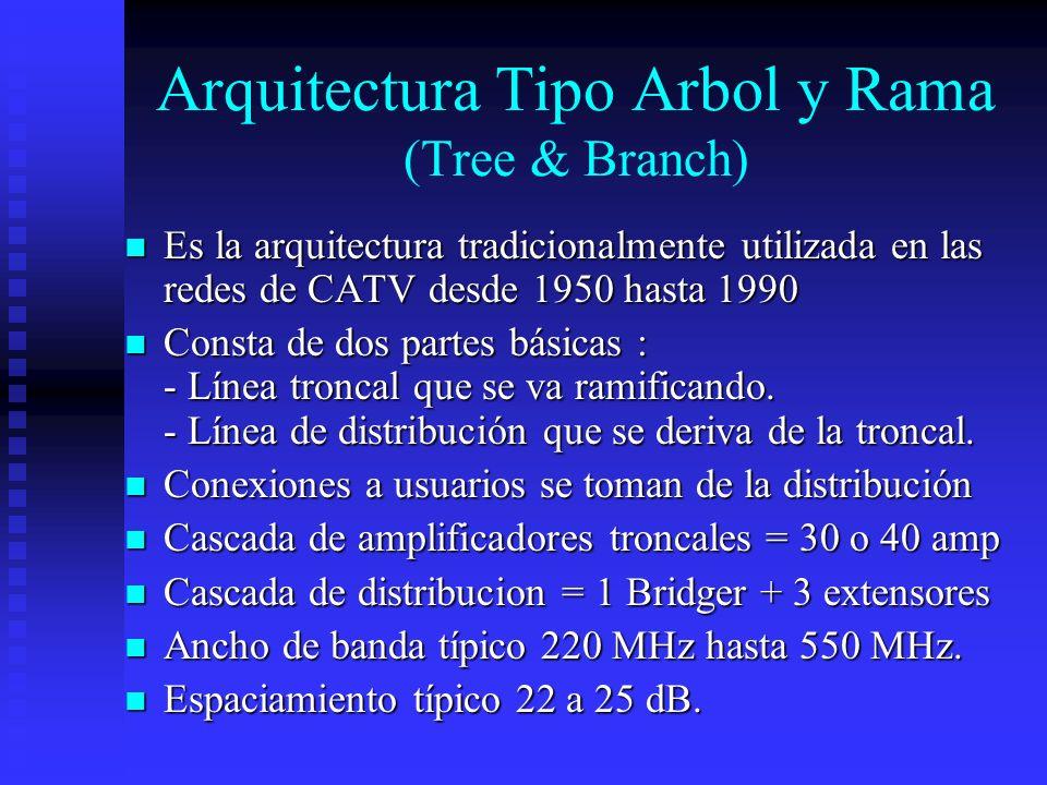 Arquitectura Tipo Arbol y Rama (Tree & Branch) Es la arquitectura tradicionalmente utilizada en las redes de CATV desde 1950 hasta 1990 Es la arquitec