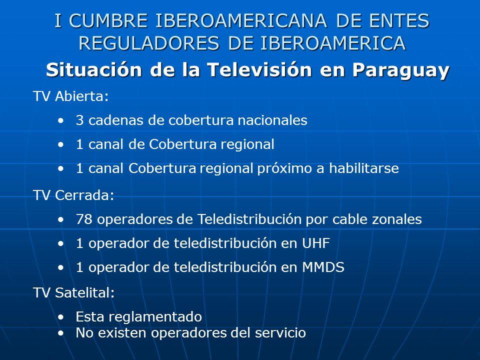 I CUMBRE IBEROAMERICANA DE ENTES REGULADORES DE IBEROAMERICA Situación de la Televisión en Paraguay TV Abierta: 3 cadenas de cobertura nacionales 1 canal de Cobertura regional 1 canal Cobertura regional próximo a habilitarse TV Cerrada: 78 operadores de Teledistribución por cable zonales 1 operador de teledistribución en UHF 1 operador de teledistribución en MMDS TV Satelital: Esta reglamentado No existen operadores del servicio