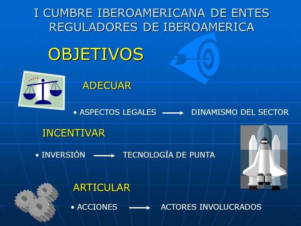 I CUMBRE IBEROAMERICANA DE ENTES REGULADORES DE IBEROAMERICA ADECUAR ASPECTOS LEGALES DINAMISMO DEL SECTOR OBJETIVOS INCENTIVAR INVERSIÓN TECNOLOGÍA DE PUNTA ARTICULAR ACCIONES ACTORES INVOLUCRADOS