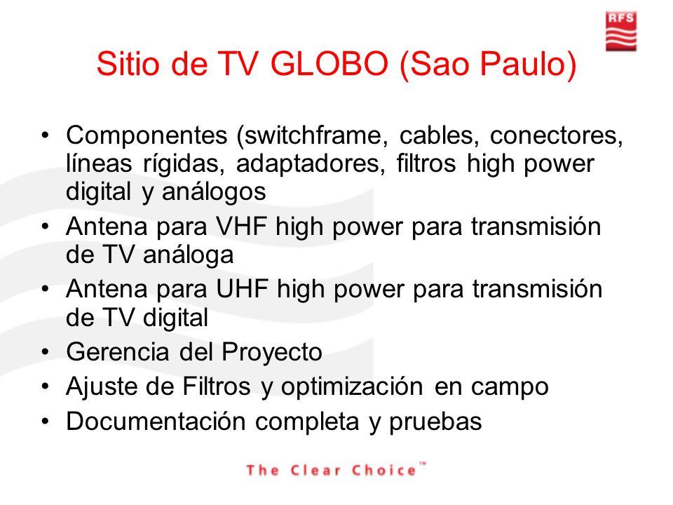 Sitio de TV GLOBO (Sao Paulo) Componentes (switchframe, cables, conectores, líneas rígidas, adaptadores, filtros high power digital y análogos Antena