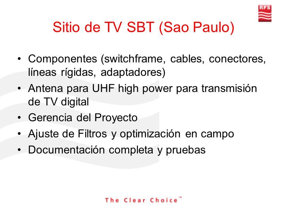 Sitio de TV SBT (Sao Paulo) Componentes (switchframe, cables, conectores, líneas rígidas, adaptadores) Antena para UHF high power para transmisión de