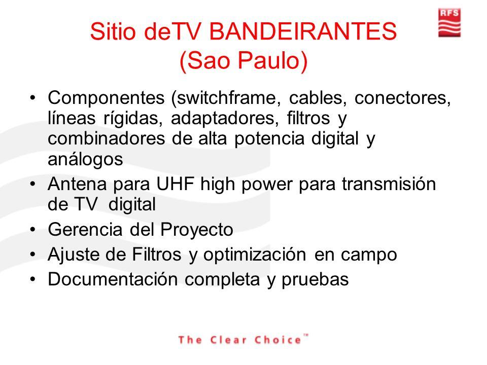 Sitio deTV BANDEIRANTES (Sao Paulo) Componentes (switchframe, cables, conectores, líneas rígidas, adaptadores, filtros y combinadores de alta potencia