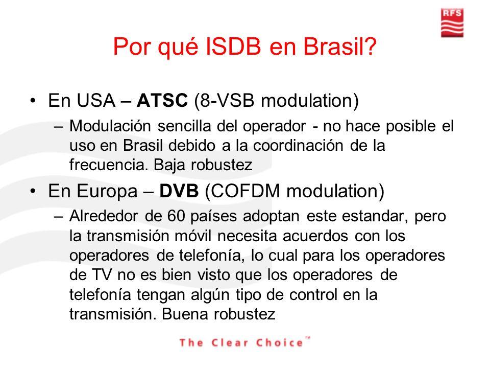 Por qué ISDB en Brasil? En USA – ATSC (8-VSB modulation) –Modulación sencilla del operador - no hace posible el uso en Brasil debido a la coordinación