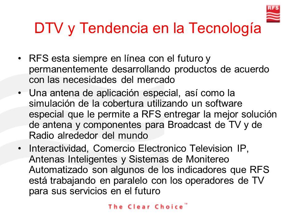 DTV y Tendencia en la Tecnología RFS esta siempre en línea con el futuro y permanentemente desarrollando productos de acuerdo con las necesidades del