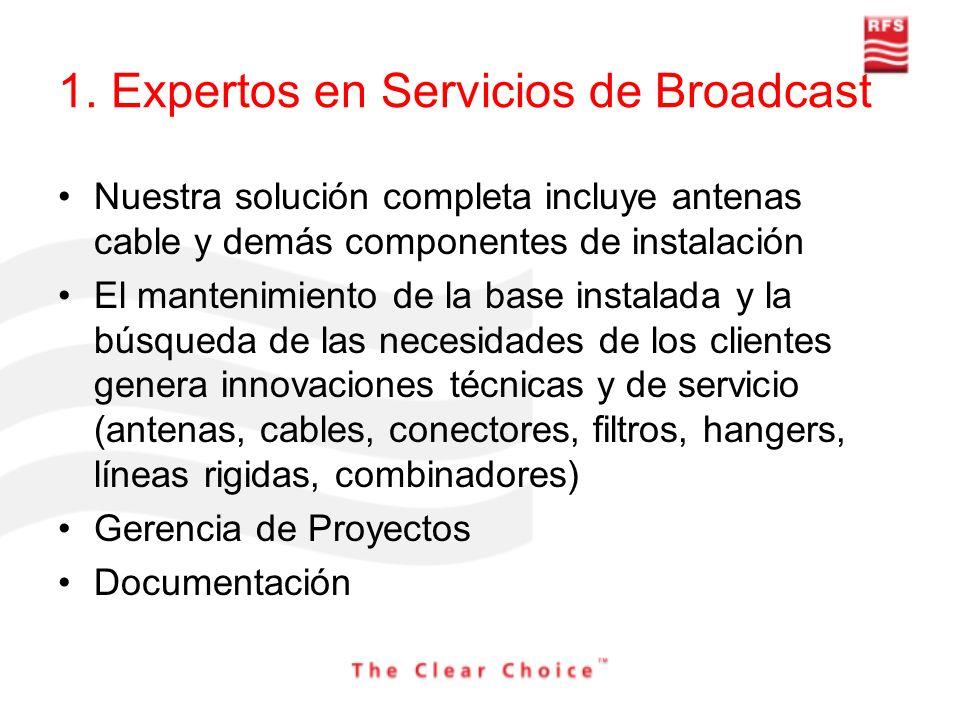 1. Expertos en Servicios de Broadcast Nuestra solución completa incluye antenas cable y demás componentes de instalación El mantenimiento de la base i