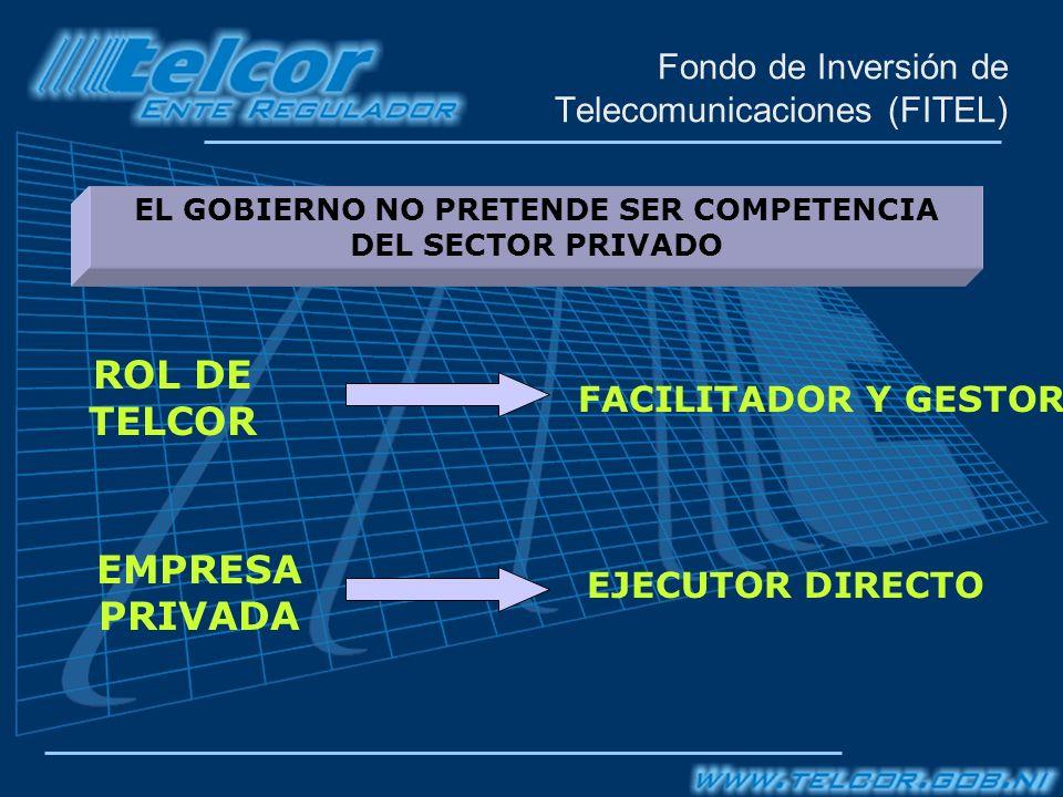 Fondo de Inversión de Telecomunicaciones (FITEL) EJECUTOR DIRECTO EL GOBIERNO NO PRETENDE SER COMPETENCIA DEL SECTOR PRIVADO ROL DE TELCOR EMPRESA PRIVADA FACILITADOR Y GESTOR