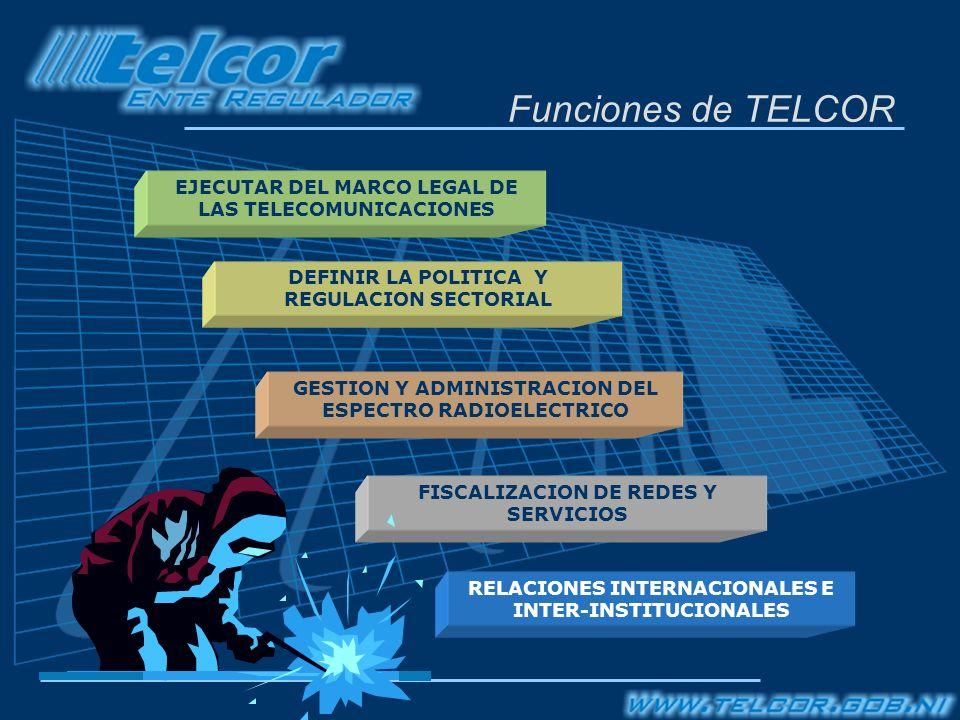 Funciones de TELCOR GESTION Y ADMINISTRACION DEL ESPECTRO RADIOELECTRICO RELACIONES INTERNACIONALES E INTER-INSTITUCIONALES EJECUTAR DEL MARCO LEGAL DE LAS TELECOMUNICACIONES DEFINIR LA POLITICA Y REGULACION SECTORIAL FISCALIZACION DE REDES Y SERVICIOS