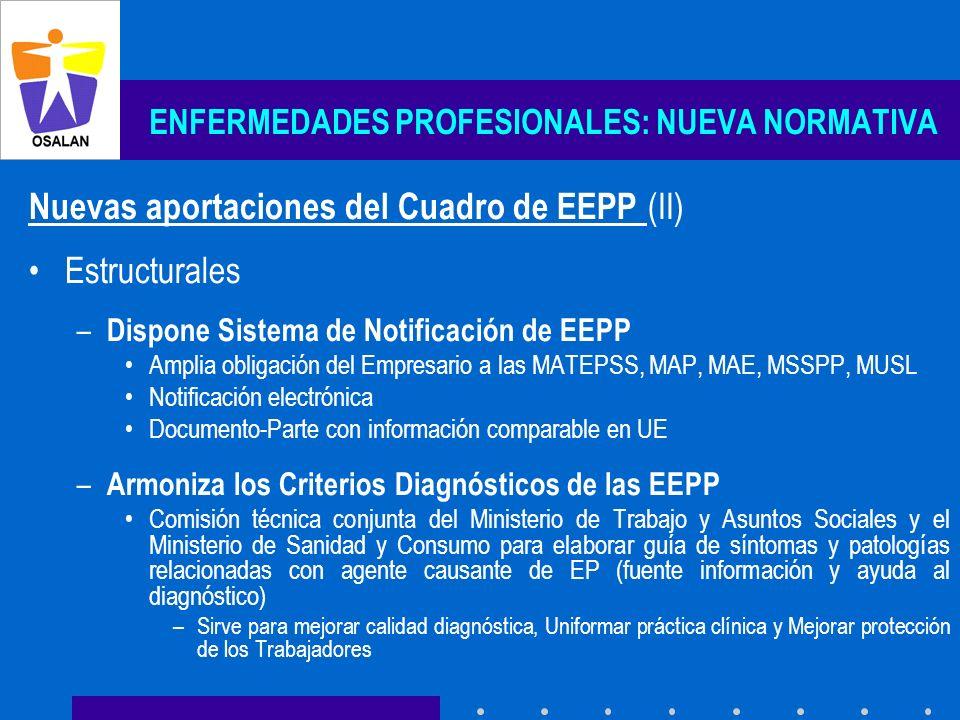 ENFERMEDADES PROFESIONALES: NUEVA NORMATIVA Nuevas aportaciones del Cuadro de EEPP (II) Estructurales – Dispone Sistema de Notificación de EEPP Amplia