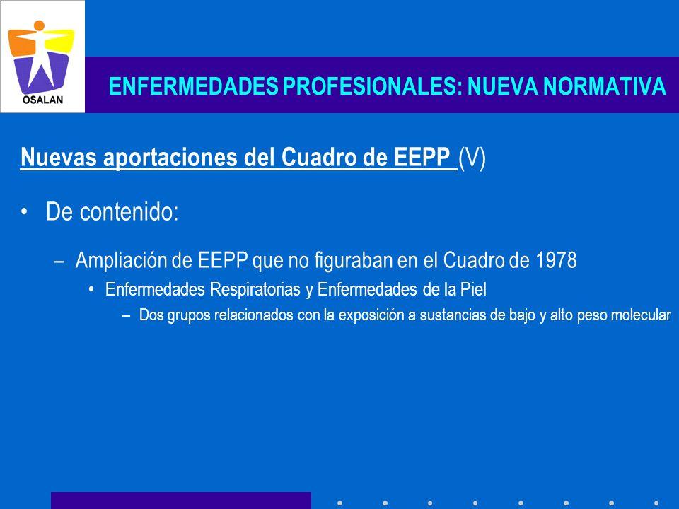ENFERMEDADES PROFESIONALES: NUEVA NORMATIVA Nuevas aportaciones del Cuadro de EEPP (V) De contenido: –Ampliación de EEPP que no figuraban en el Cuadro