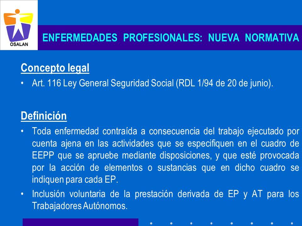 ENFERMEDADES PROFESIONALES: NUEVA NORMATIVA Concepto legal Art. 116 Ley General Seguridad Social (RDL 1/94 de 20 de junio). Definición Toda enfermedad