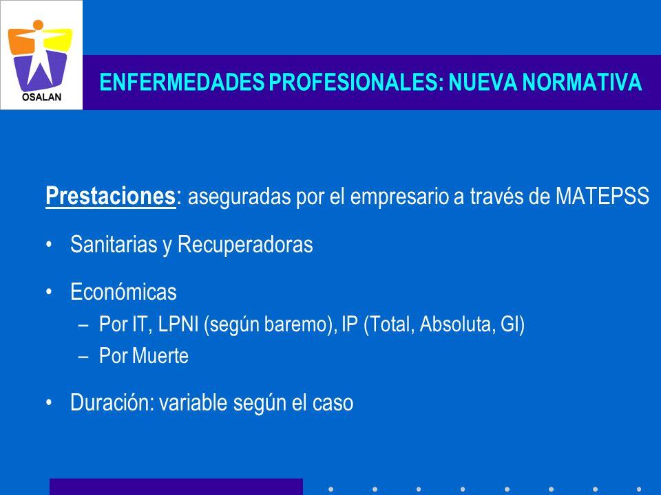ENFERMEDADES PROFESIONALES: NUEVA NORMATIVA Prestaciones : aseguradas por el empresario a través de MATEPSS Sanitarias y Recuperadoras Económicas –Por