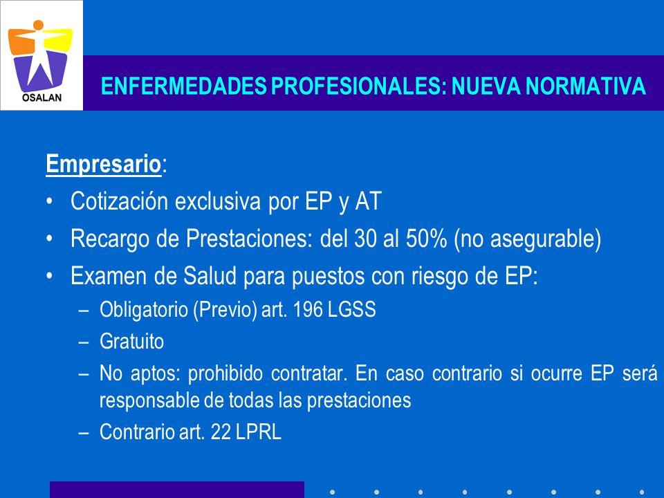 ENFERMEDADES PROFESIONALES: NUEVA NORMATIVA Empresario : Cotización exclusiva por EP y AT Recargo de Prestaciones: del 30 al 50% (no asegurable) Exame