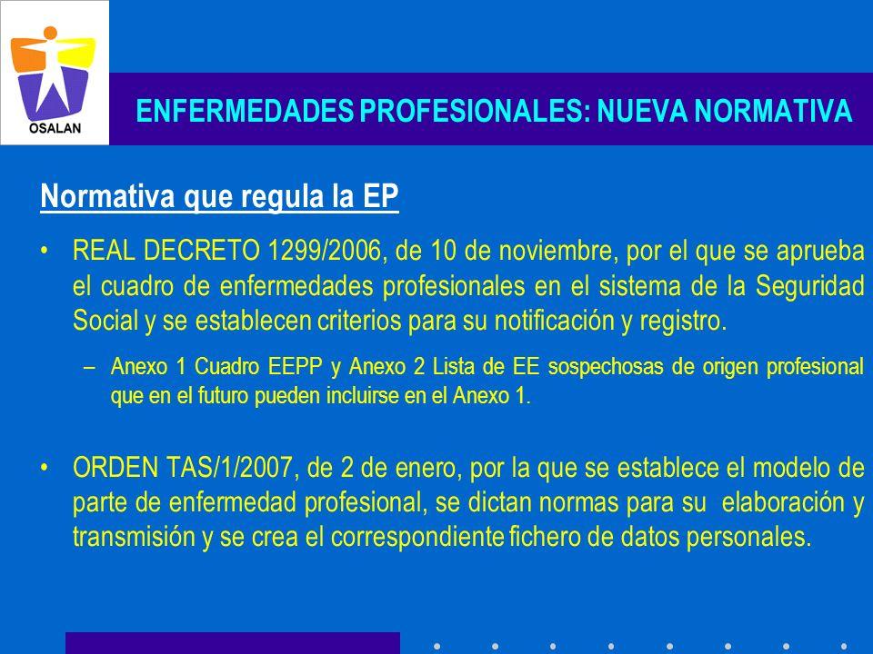 ENFERMEDADES PROFESIONALES: NUEVA NORMATIVA Normativa que regula la EP REAL DECRETO 1299/2006, de 10 de noviembre, por el que se aprueba el cuadro de
